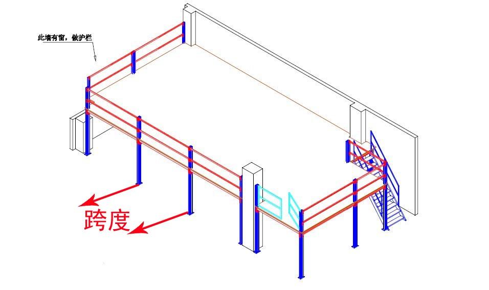 阁楼平台货架平面设计图